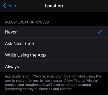 Yelp iOS app: Location access permissions menu