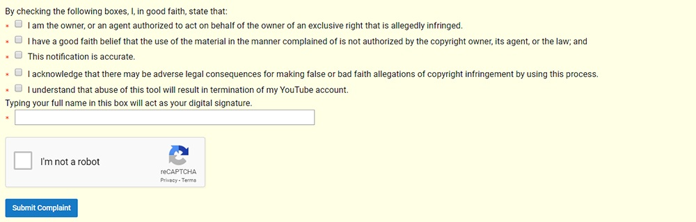 Screenshot of declaration and signature fields in YouTube Copyright Infringement Notification form