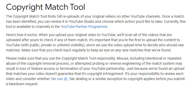 YouTube Help: Copyright Match Tool