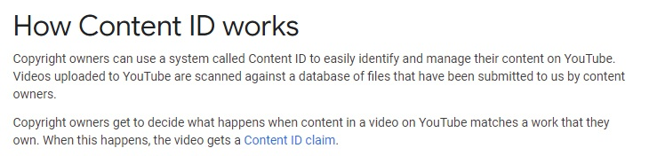 YouTube Help: How Content ID Works summary