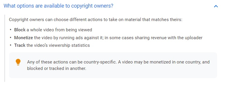 YouTube Help: What options are available to copyright owners