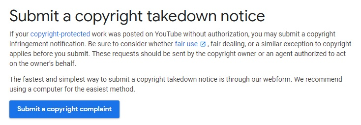 YouTube Help: Submit a copyright takedown notice and complaint