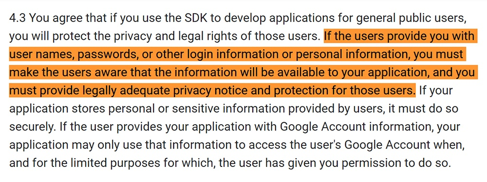 Android Developers Terms and Conditions: Use of SDK - Privacy notice requirement clause