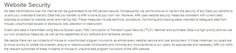 APA Privacy Policy: Website Security clause