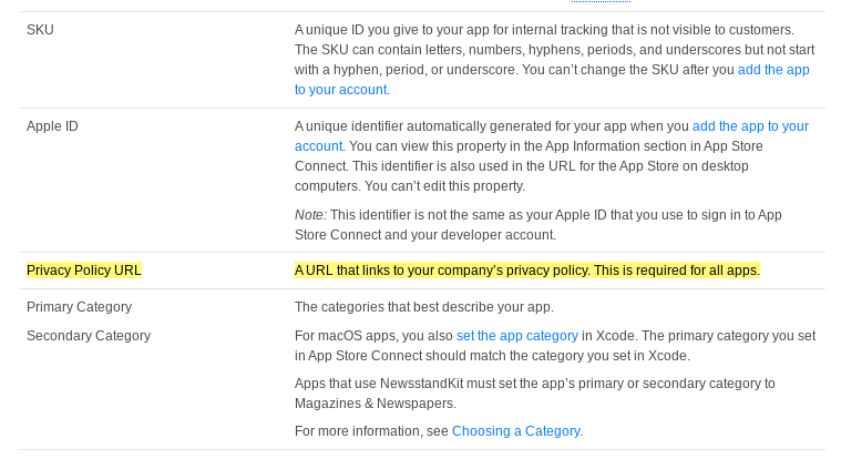 Apple App Store Connect App Information: Privacy Policy URL requirement highlighted