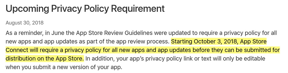Apple App Store: Upcoming Privacy Policy Requirement reminder
