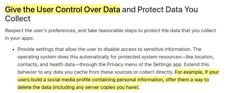 Apple Developer article: Protecting the User's Privacy - Give the User Control Over Data section