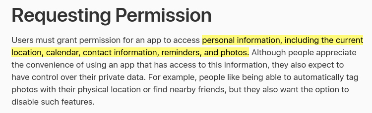 Apple Developer Human Interface Guidelines: Requesting permission to access personal information highlighted