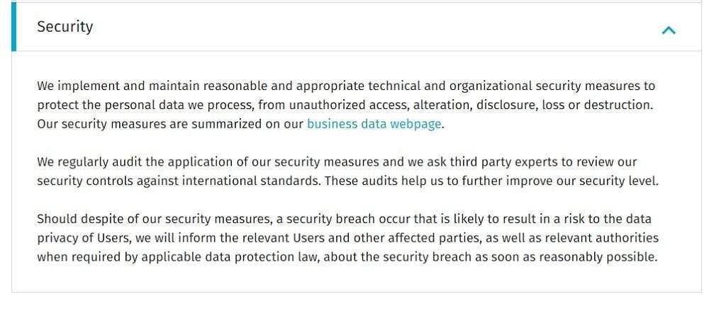 Basware Privacy Notice: Security clause