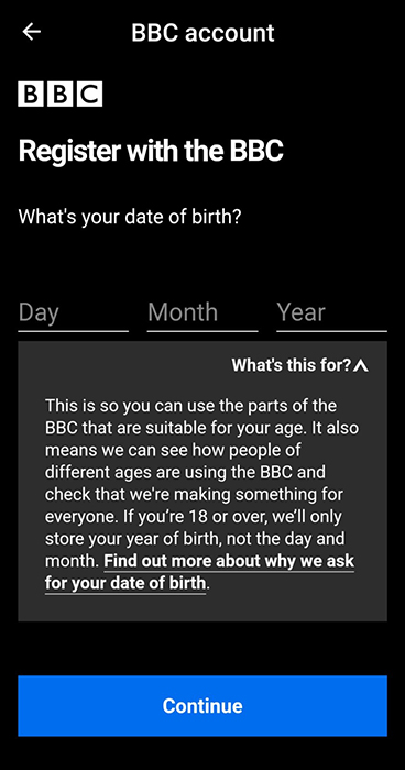 BBC iPlayer Android App: In-app disclosure