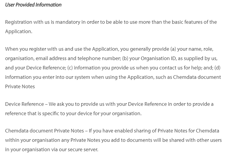 Chemdata Privacy Policy: User Provided Information clause