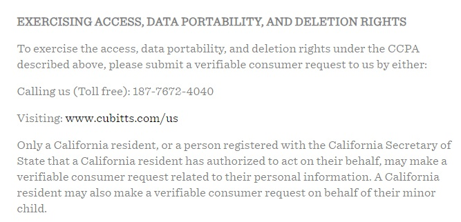Cubitts Privacy Policy: Exercising Access, Data Portability, and Deletion Rights clause excerpt