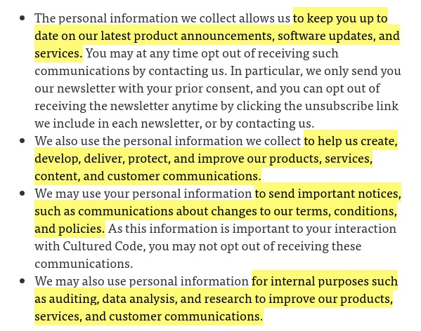 Cultured Code Privacy Policy: Excerpt of How we use your personal information clause