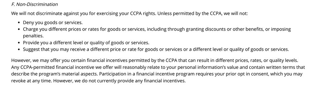 Cypress Privacy Policy: Non-Discrimination clause