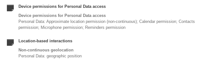 Drafts Privacy Policy: Policy Summary - Device permissions for Personal Data access and Location-based interactions sections