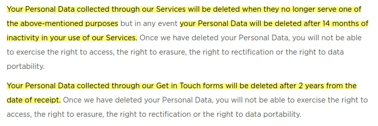 Easybrain Privacy Policy: Excerpt of Data Retention clause