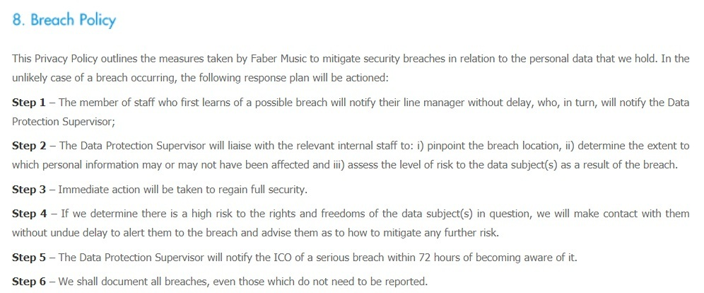 Faber Music Privacy Policy: Breach Policy clause