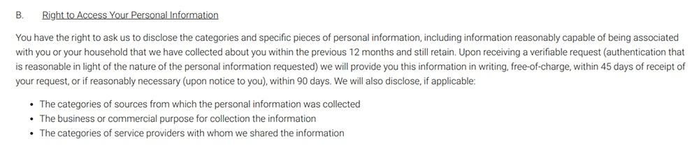 Fico Privacy Policy: Excerpt of Right to Access Your Personal Information clause