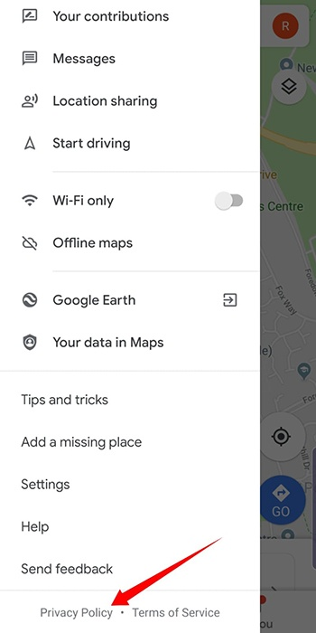 Google Maps Android app: Menu with Privacy Policy highlighted
