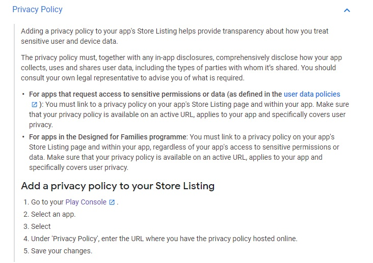 Google Play Console Help: Add a Privacy Policy to your Store Listing