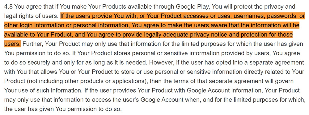 Google Play Developer Distribution Agreement: Privacy notice requirement clause