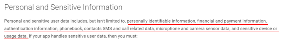 Google Play Developer Policy Center: Privacy, Security and Deception - Section with List of what is Personal and Sensitive Information