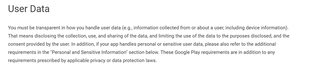 Google Play Developer Policy Center: Privacy, Security and Deception - User Data section