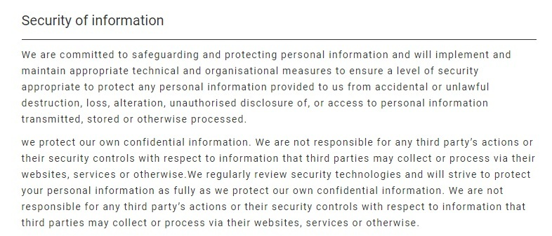 Japan Travel Centre Privacy Policy: Security of Information clause excerpt