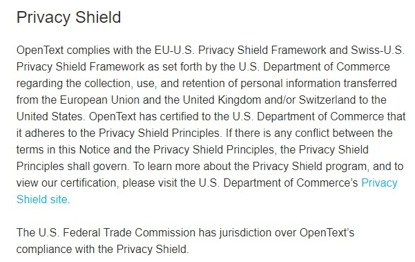 OpenText Privacy Notice: Privacy Shield clause