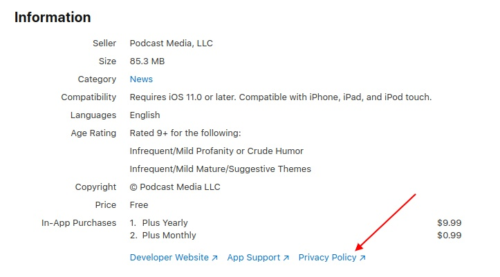 Pocket Casts iOS app Information page with Privacy Policy link highlighted