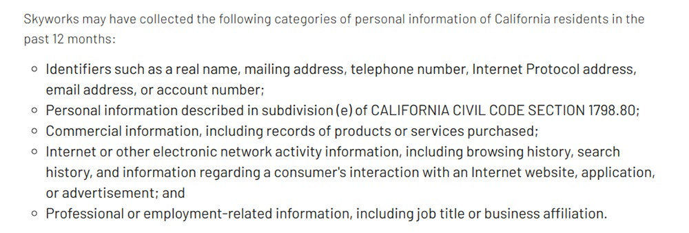 Skyworks Privacy Policy: Categories of personal information collected from California residents clause excerpt