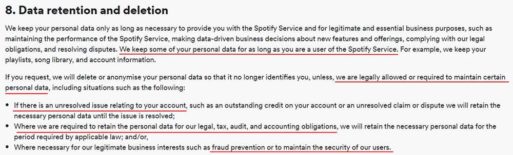 Spotify Privacy Policy: Data retention and deletion clause