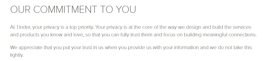 Tinder Privacy Policy intro