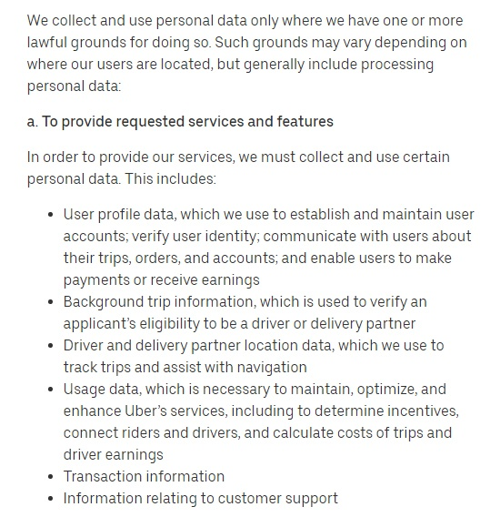 Uber Privacy Notice: Lawful grounds for processing - To provide requested services and features clause