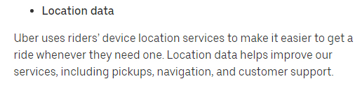 Uber Privacy Notice: Location data clause excerpt
