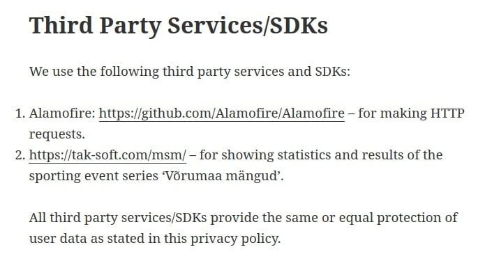Vorumaa Nutimangud iOS App Privacy Policy: Third Party Services and SDKs clause
