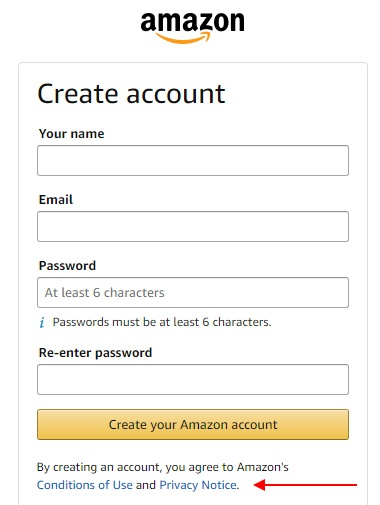 Amazon Create Account form with Privacy Notice highlighted