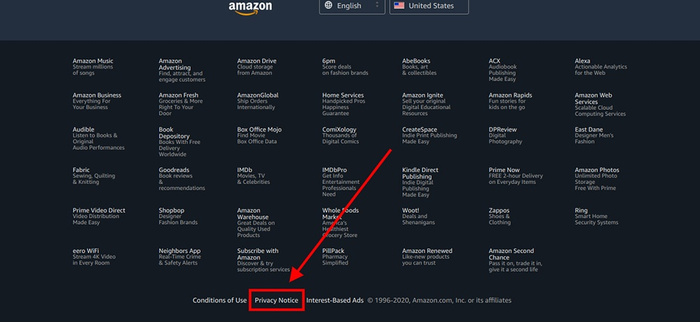 Amazon homepage and footer with Privacy Notice link highlighted
