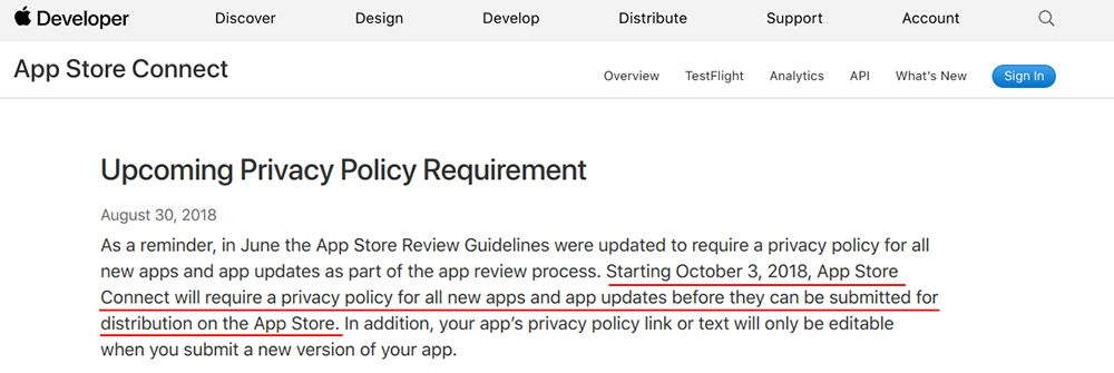 Apple Developer App Store Connect: Upcoming Privacy Policy Requirement reminder
