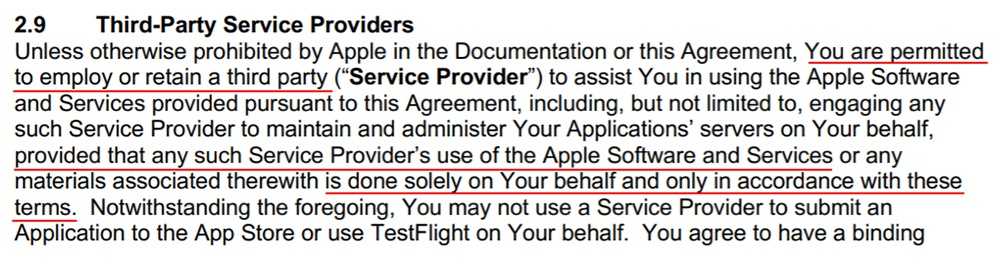 Apple iOS Developer Program License Agreement: Third-Party Service Providers section