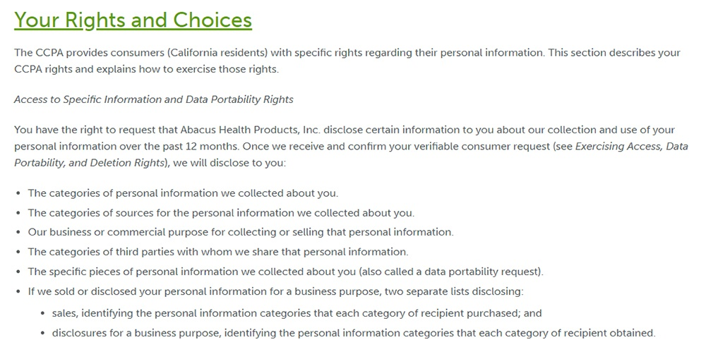 CBDMedic Privacy Notice for CA Residents: Your rights and choices clause excerpt