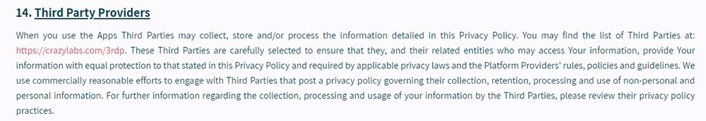 Crazy Labs Privacy Policy: Third Party Providers clause