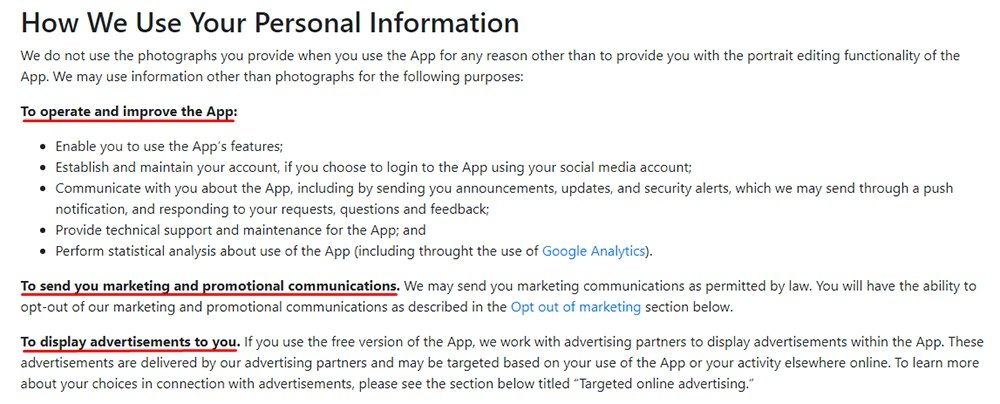 FaceApp Privacy Policy: How We Use Your Personal Information clause excerpt