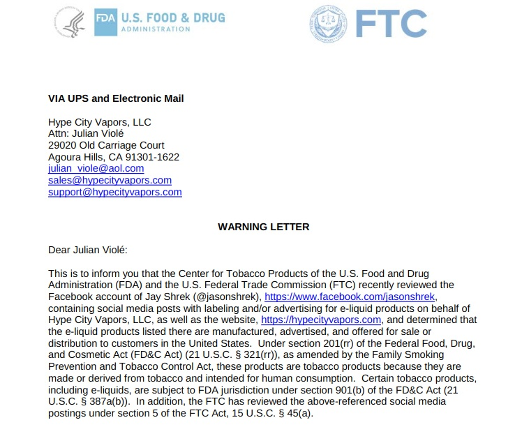 Introduction excerpt of FDA and FTC warning letter to Hype City Vapors