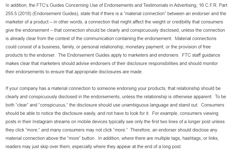 Material connection excerpt of FDA and FTC warning letter to Hype City Vapors