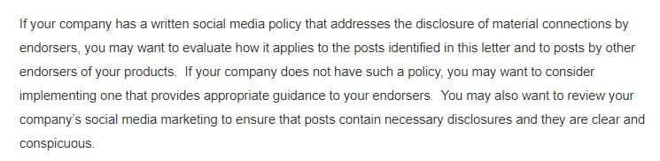 Social media policy excerpt of FDA and FTC warning letter to Hype City Vapors