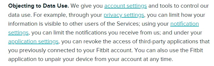 Fitbit Privacy Policy: Objecting to Data Use clause