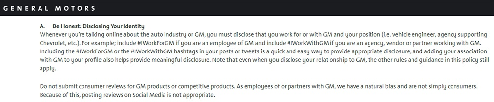 General Motors Social Media Policy: Be Honest - Disclosing Identity clause