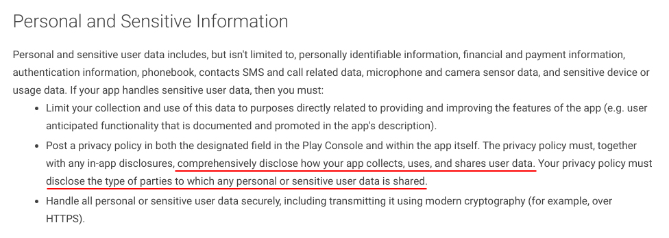Google Developer Policy Center: Personal and Sensitive Information - Disclose data use and third parties Privacy Policy requirement excerpt