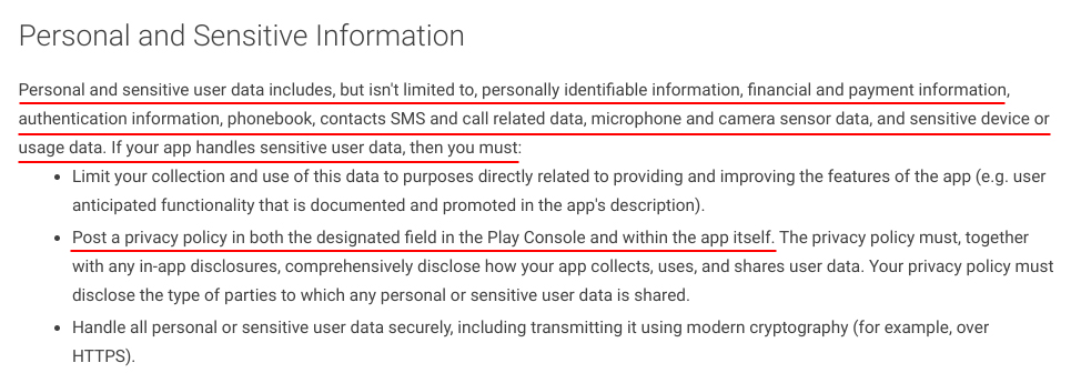 Google Developer Policy Center: Personal and Sensitive Information Privacy Policy requirement excerpt